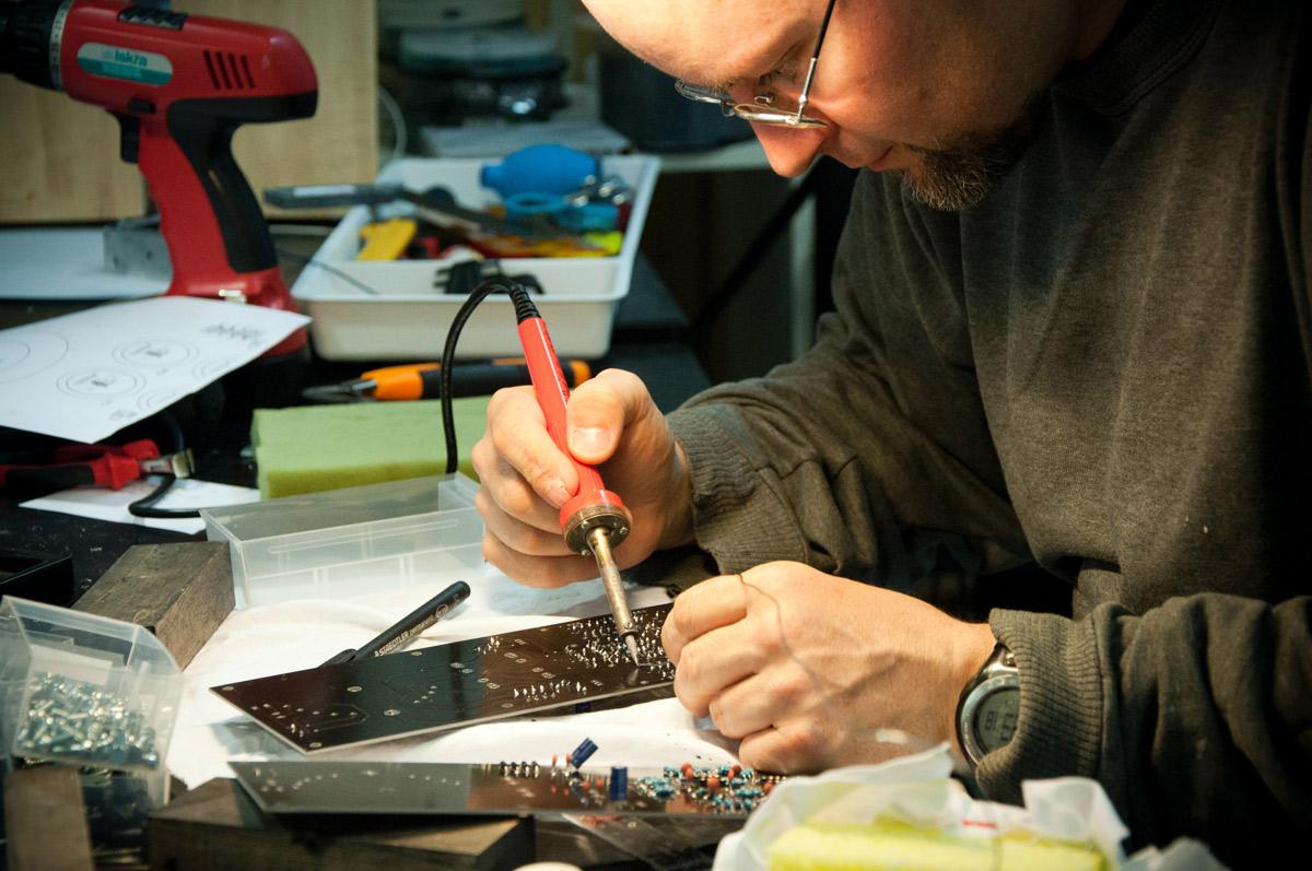 Man working on a circuit board