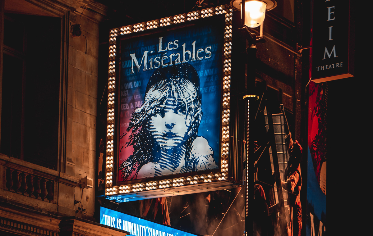 Les Miserables sign on a theater
