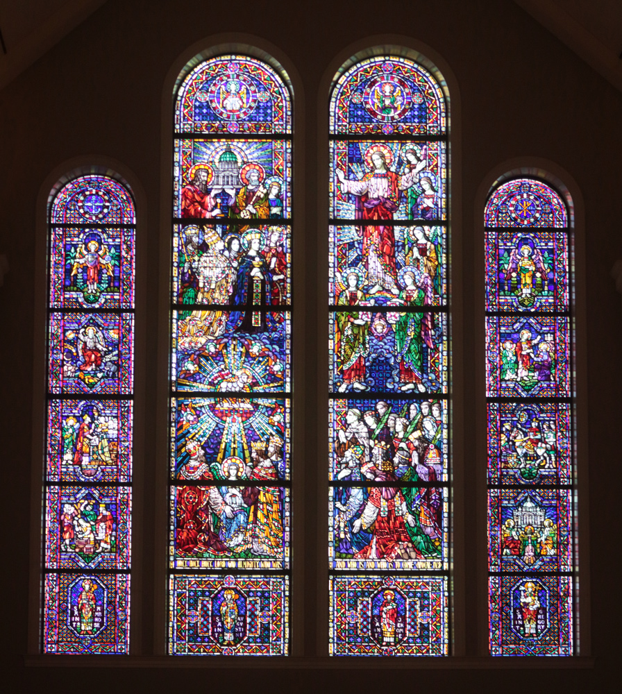 Stained glass window of the Church Triumphant