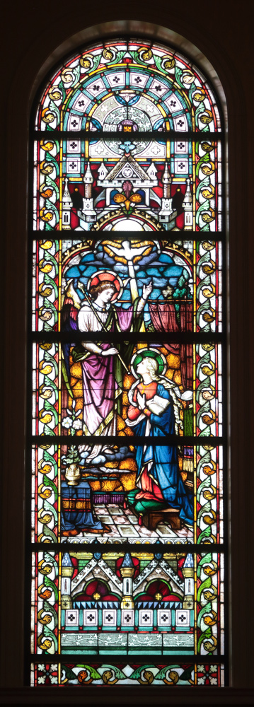 Stained glass window of the Annunciation