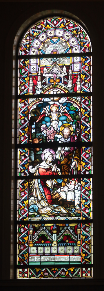 Stained glass window of the Nativity