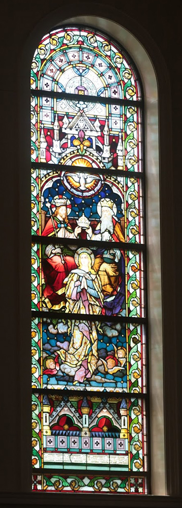 Stained glass window of the Coronation