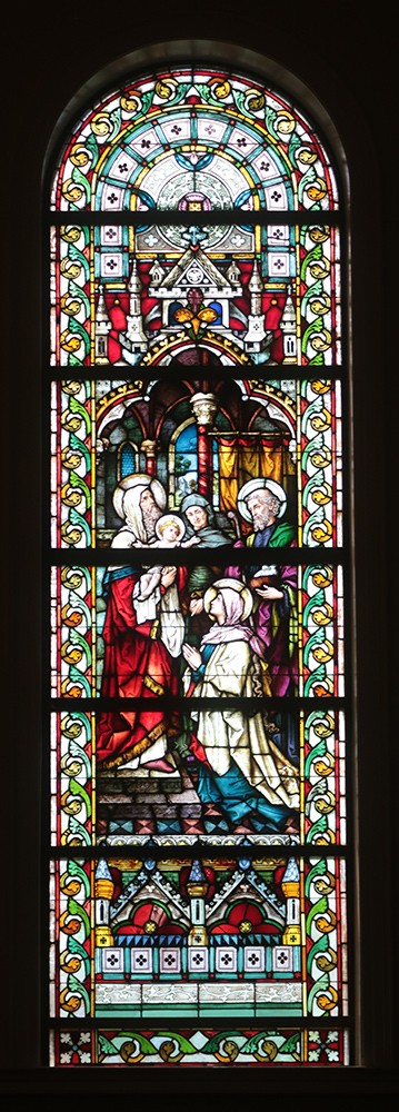 Stained glass window of the Presentation