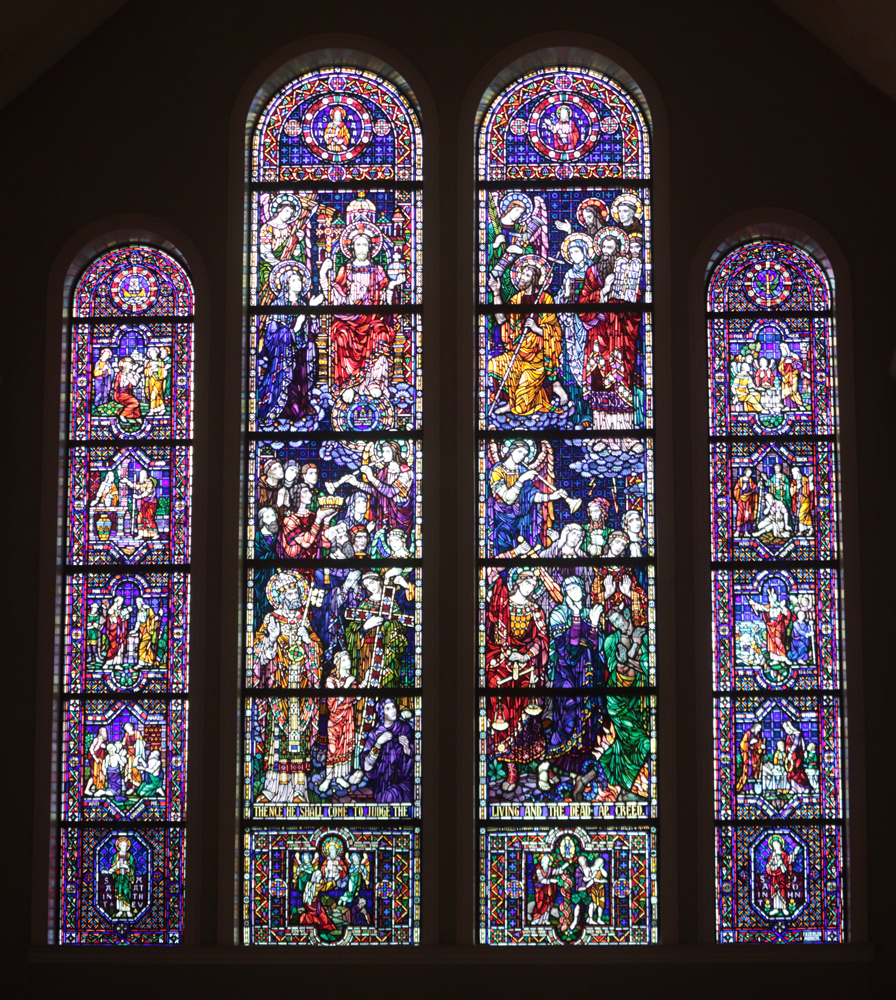 Stained glass window of the Last Judgment